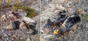 Gamla kvarglömda skor vid en öde skogsbilväg.