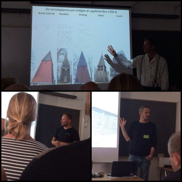 Timmermännen Mattias Hallgren, Daniel Eriksson och Gunnar Almevik berättar om forskningsprojekt rörande medeltida hantverk som de driver. Foto: Jennie Björklund © Norrbottens museum.