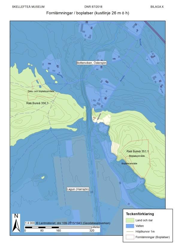 En översikt över De två boplatserna och sundet mellan lagunen (Harrsjön) och Bottenviken.