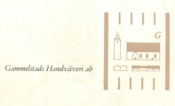 06. Gammelstads Handväveris logga. Bild försvaras på Norrbottens Föreningsarkiv, ark. nr. 2676