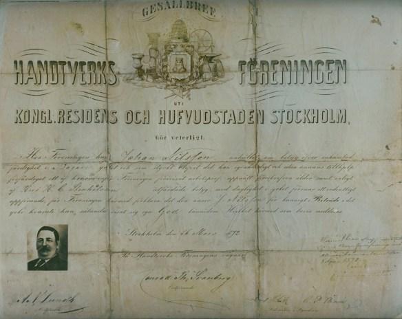 Johan Nilssons gesällbrev