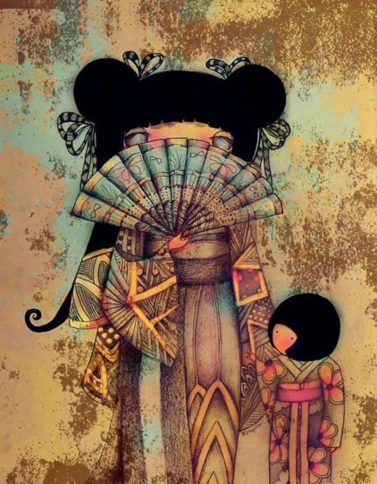 Девушка с веером. Автор: Karin Taylor.