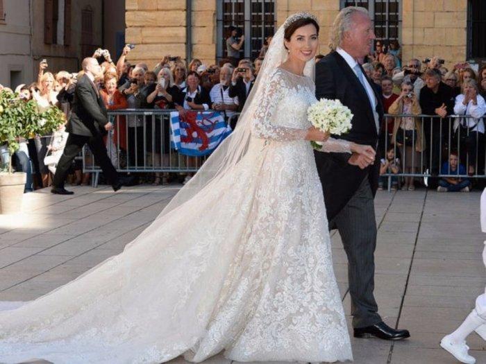 Принцесса Клер из Люксембурга с отцом в день её свадьбы в 2013 году.