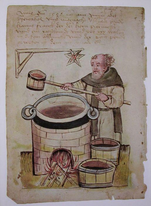 Средневековый монах варит пиво, 1506 год. | Фото: commons.wikimedia.org.