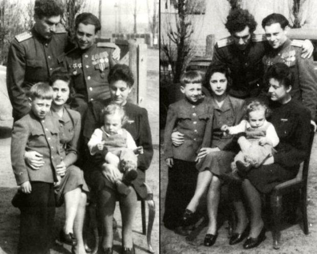 Семён и Алексей Высоцкие с жёнами и детьми, Германия, Ратенов, 1947 год. / Фото: www.livejournal.com