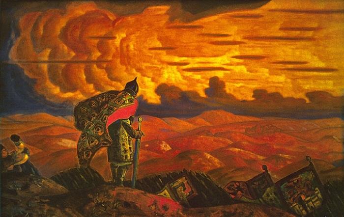 Н.К. Рерих. «Стрелы неба — копья земли». (1915). Холст, темпера. 103 х 188<br>Музей изобразительных искусств. Туркменистан.