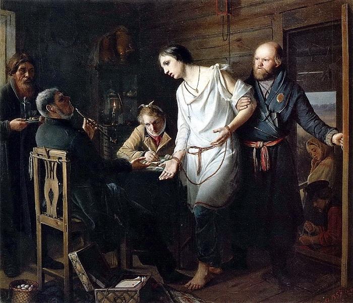 Приезд станового на следствие. (1857).Автор: В.Перов.