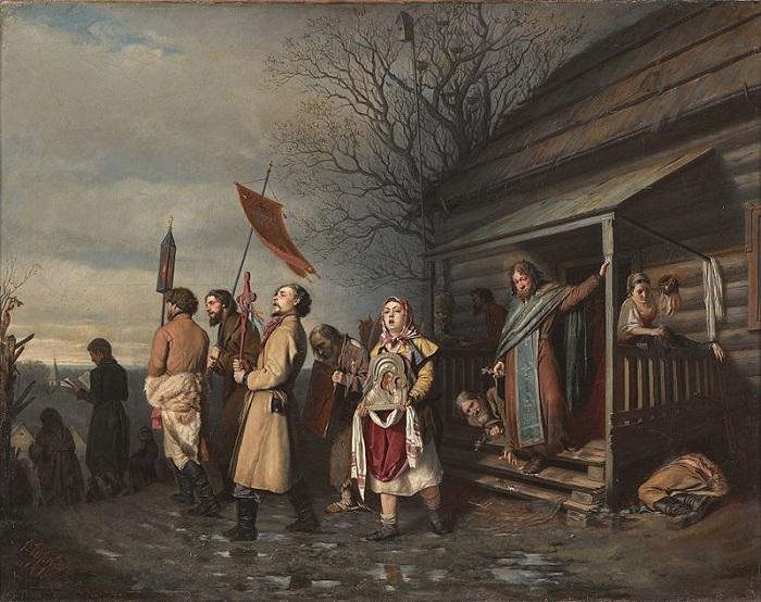 Сельский крестный ход на Пасхе. (1861). Автор: В.Перов.