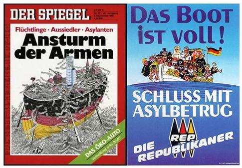 Spiegeltitel 1991 und Wahlplakat der REPs 2003.