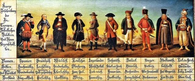 Nationalitäten Stereotype aus dem frühen 18.Jahrhundert