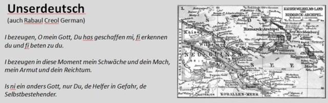 Unserdeutsch als einzige deutsch-basierte Kreolsprache