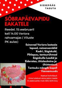 Sõbrapäevapidu eakatele @ Veriora rahvamaja | Viluste | Põlva maakond | Eesti