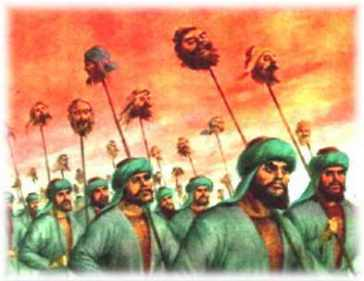 Sikh heads on spears as the Mughals march to Delhi with Banda