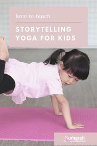 storytelling yoga for kids, little girl doing kids yoga pose on a yoga mat