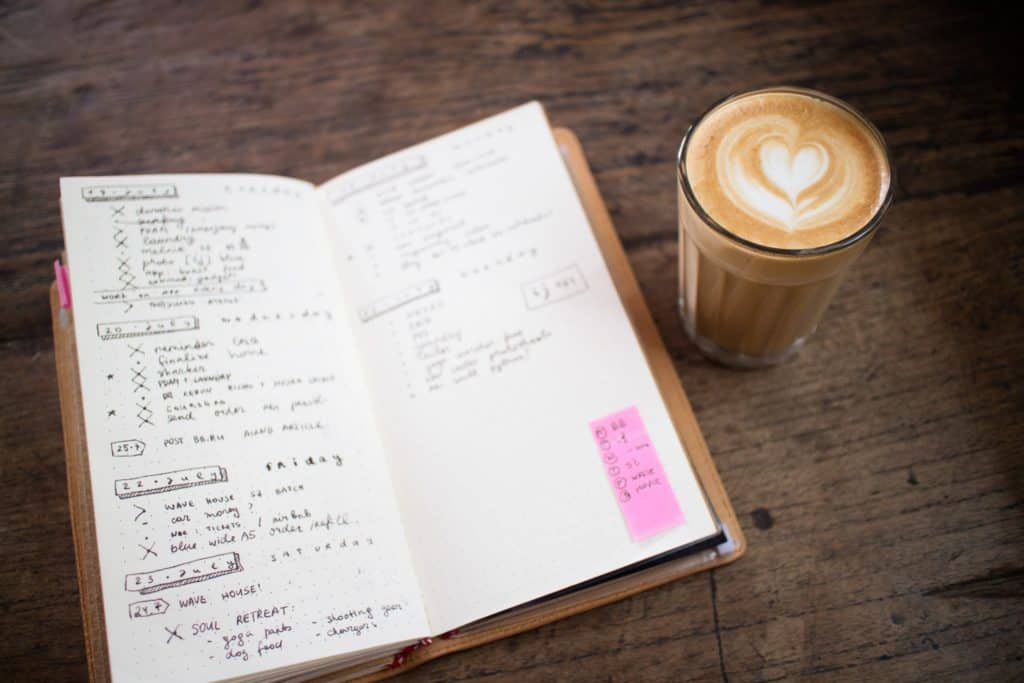 self-care ideas for the busy, stressed adult, kumarah yoga, ideas for self-care, bullet journal organizer, coffee, latte,