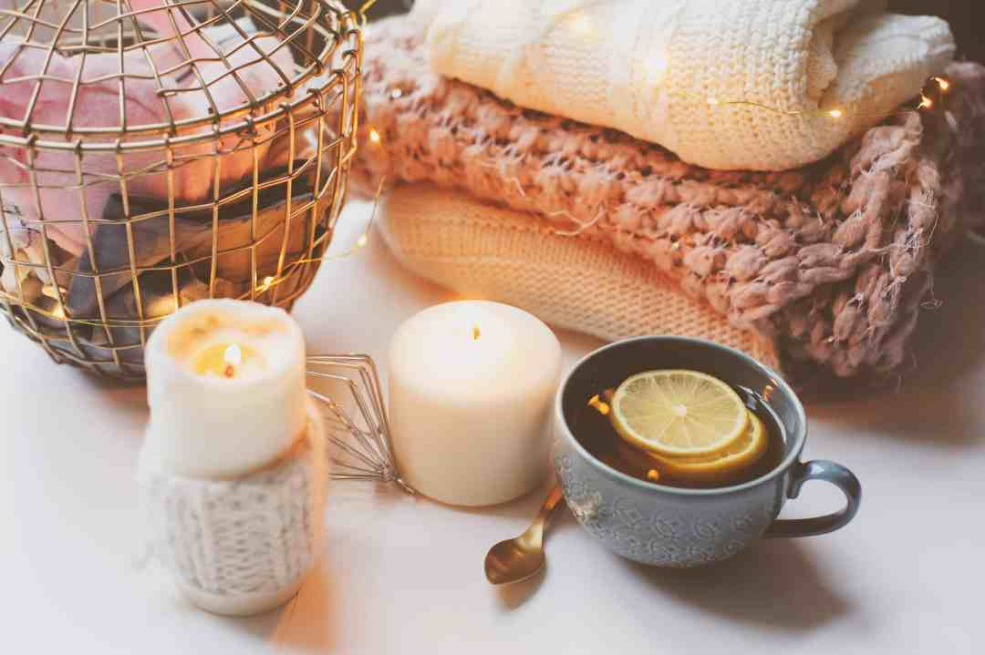 hygge, candles, calming space, cozy, self care ideas for stressed adults