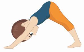 down dog pose for kids, yoga at home with kids