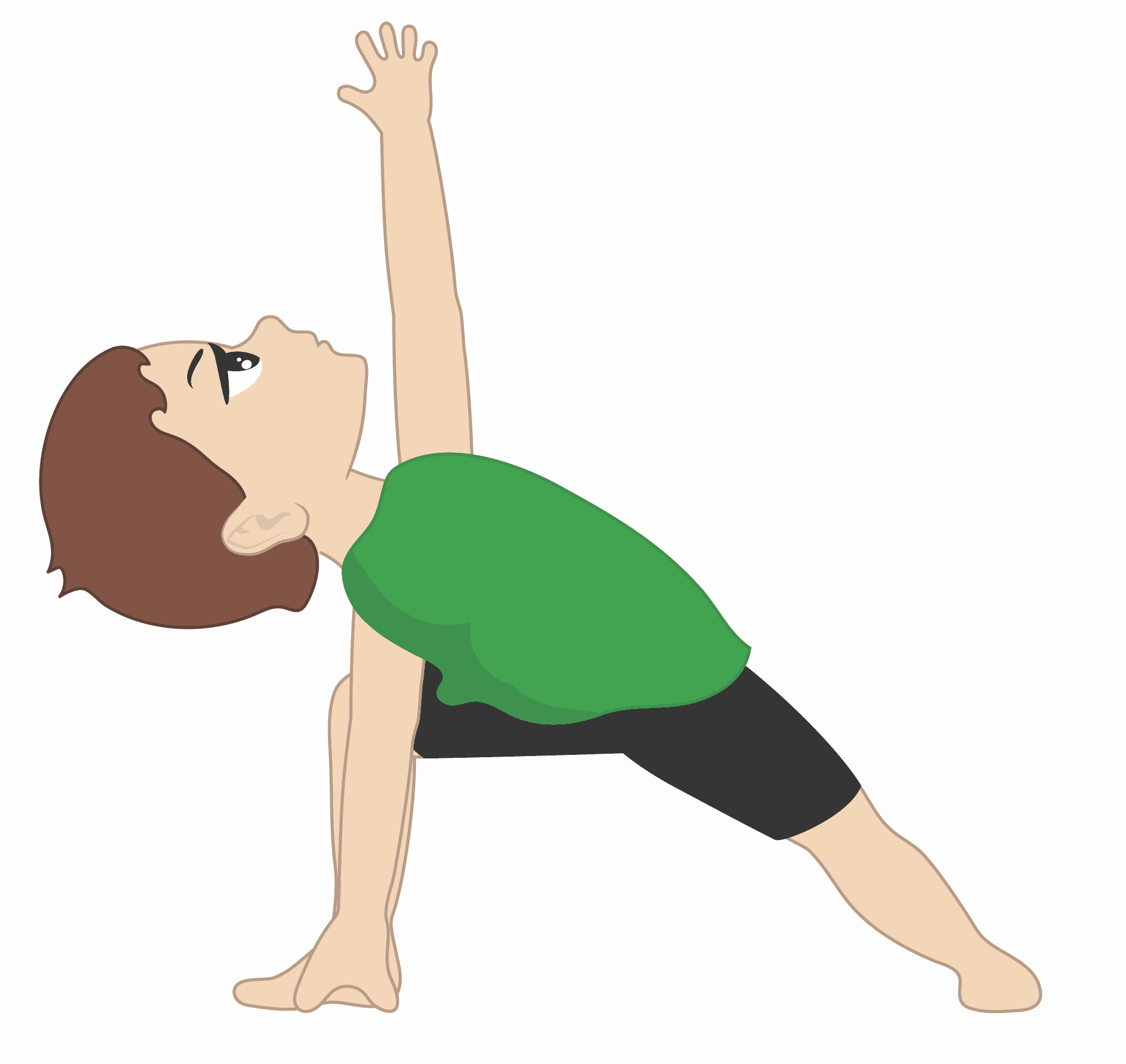 child doing extended side angle pose for kids, with legs in warrior 2 stance and one hand on the floor, the other hand is reaching up