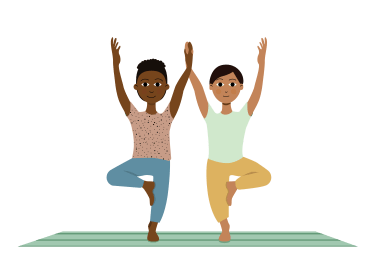 partner tree pose for yoga poses with kids at home