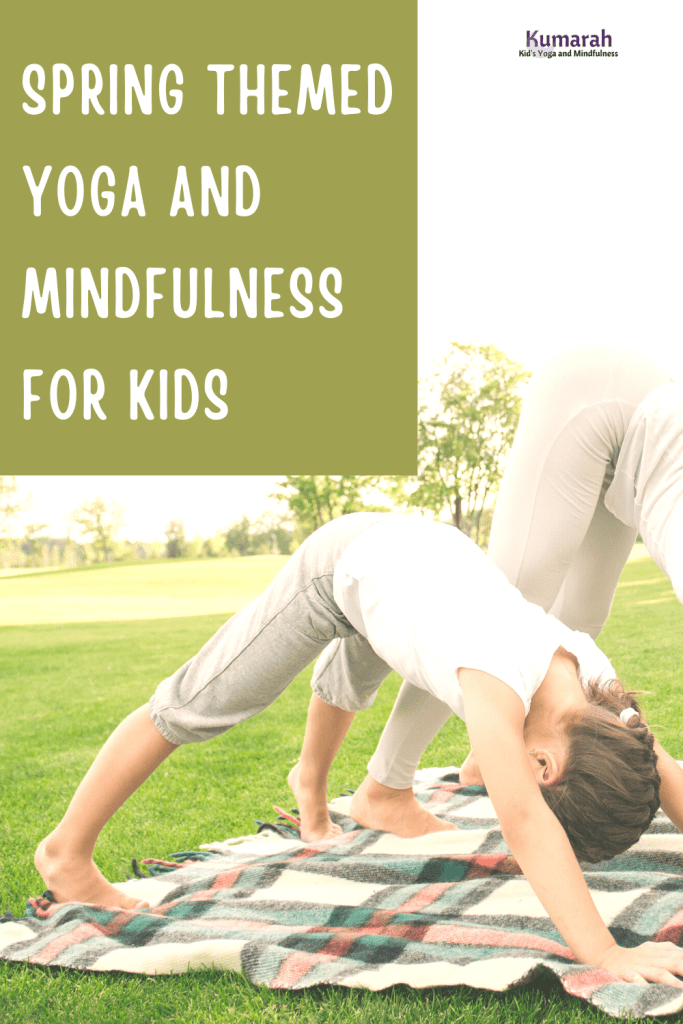spring themed yoga and mindfulness for kids. a child doing downward dog outside on a blanket in the grass.