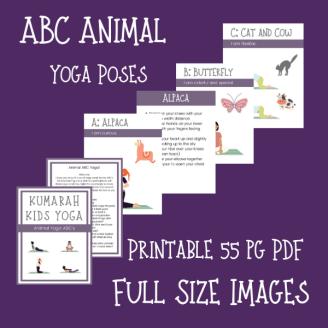 ABC yoga poses for kids, animal yoga poses for kids