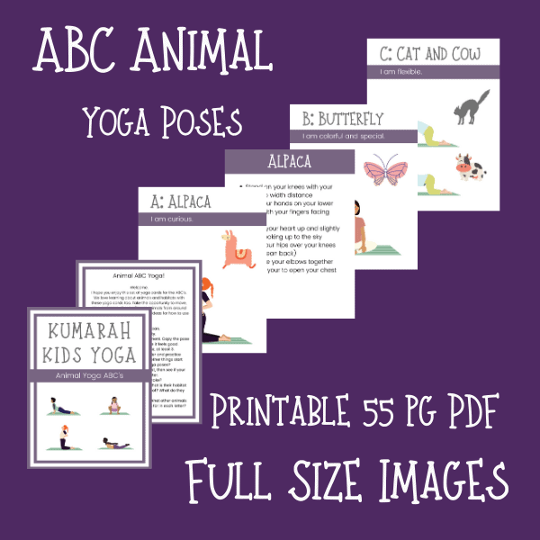 ABC yoga poses for kids, animal yoga poses for kids