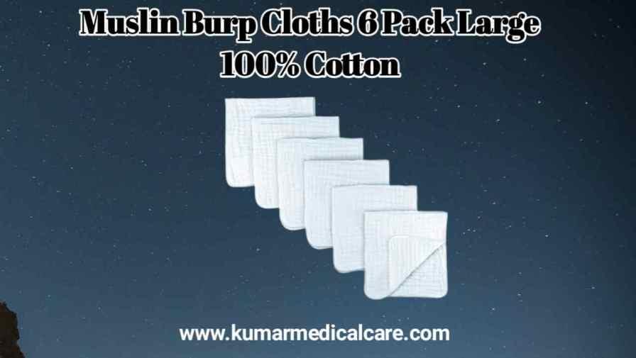 Muslin Burp Cloths 6 Pack Large 100% Cotton