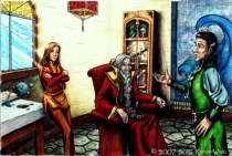 """""""The Wizards Consult""""-Color Illustration from """"Dorian The Beardless""""."""