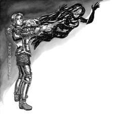 """""""Jenor Attacks"""" Illustration from Issue 8, """"Astria Olexa""""."""