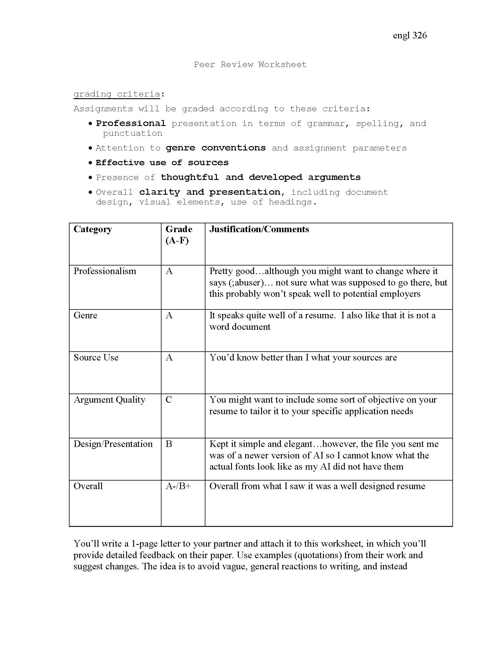 27 Peer Review Essay Worksheet