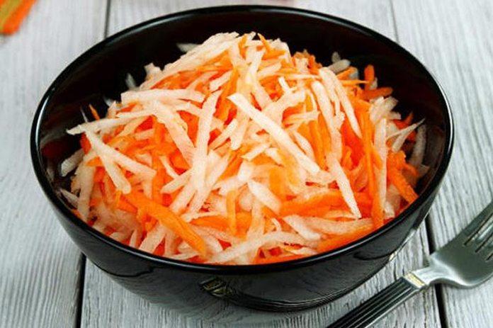 Салат из редьки с чесноком