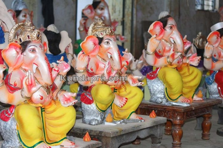 Kundapura ganesh idols makers Vasantha Gudigar made idols has demond in Hydarbad (8)