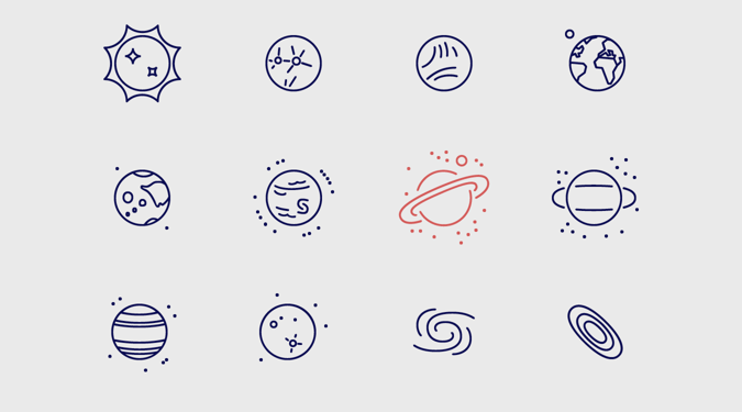 Infinity space icons on Behance