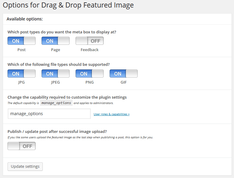 Options pour Drag Drop Featured Image