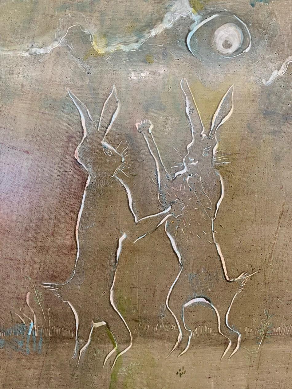 Sophie Reinhold. Boxing bunnies. Detail, 2019, Öl auf Marmormehl auf Jute, 80 x 60 cm. Ausstellungsansicht: Kunstverein Reutlingen. Kein Witz. No Joke, Foto: Elisabeth Weiß