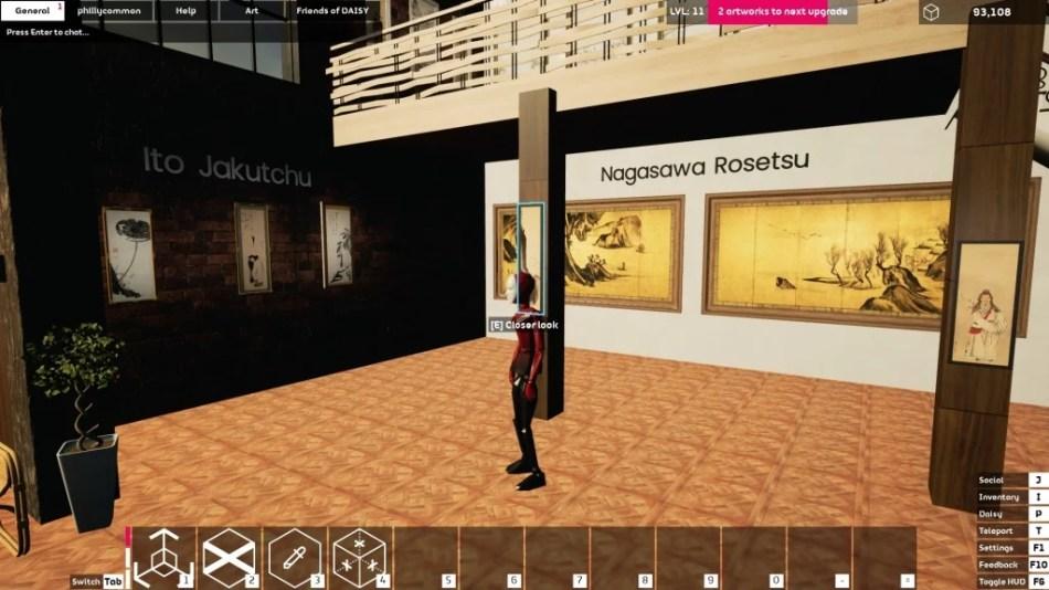 """Occupy White Walls Sceenshot: Die Ausstellung """"The Three Eccentrics"""" der Galerie """"phillycommon"""". Zu sehen sind Werke der Maler Soga Shohaku, ItoJakutchu und Nagasawa Rosetsu."""