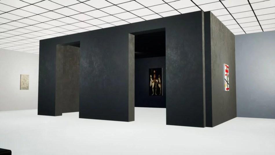 Occupy White Walls Sceenshot: Ansicht der Kune Galerie; zu sehen sind die Werke: Piet Mondrian, Komposition 8, 1914, 58,1 x 94,3 cm, Öl auf Leinwand; Tizian, Karl V. mit Ulmer Dogge, 1533, 112,7 x 194 cm, Öl auf Leinwand; Kasimir Malewitsch, Suprematism Nr. 50, 1916, 66 x 97 cm, Öl auf Leinwand.