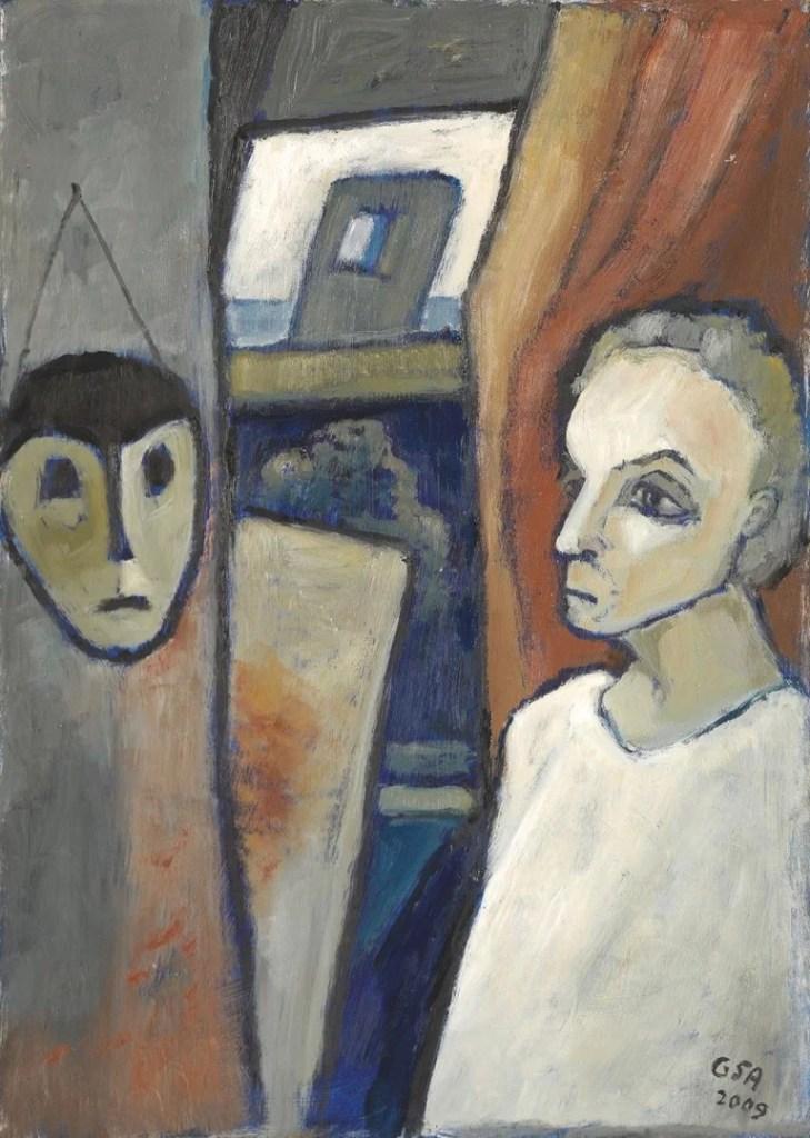Gude Schaal. Mit Maske, 2009, Öl auf Hartfaserplatte, 70 x 50 cm. © Galerie Reinhold Maas.