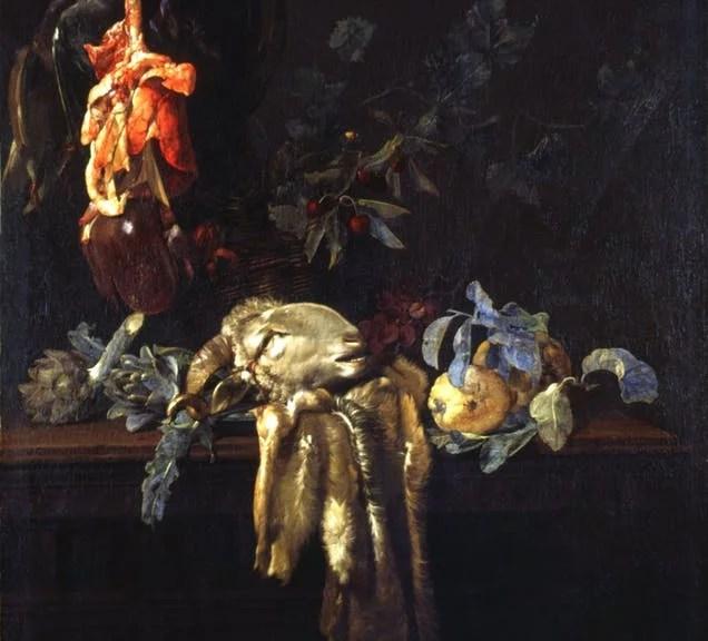 Willem van Aelst, Stillleben mit Widderkopf, 1652, Öl auf Leinwand, 125,5 x 99,5 cm. © Palazzo Pitti