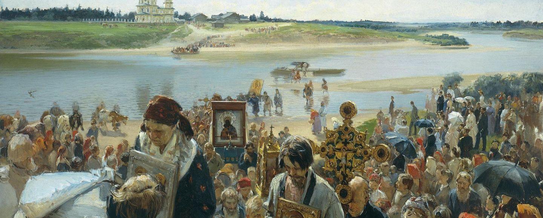Illarion Michajlowitsch Prjanischnikow. Osterprozession. 1893, 101,5x165cm, Öl auf Leinwand. © Staatliches Russisches Museum St. Petersburg, Foto: gemeinfrei.