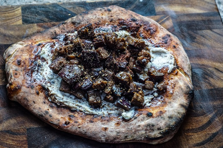 Flatbreads with Creamed Feta and Sticky Aubergines