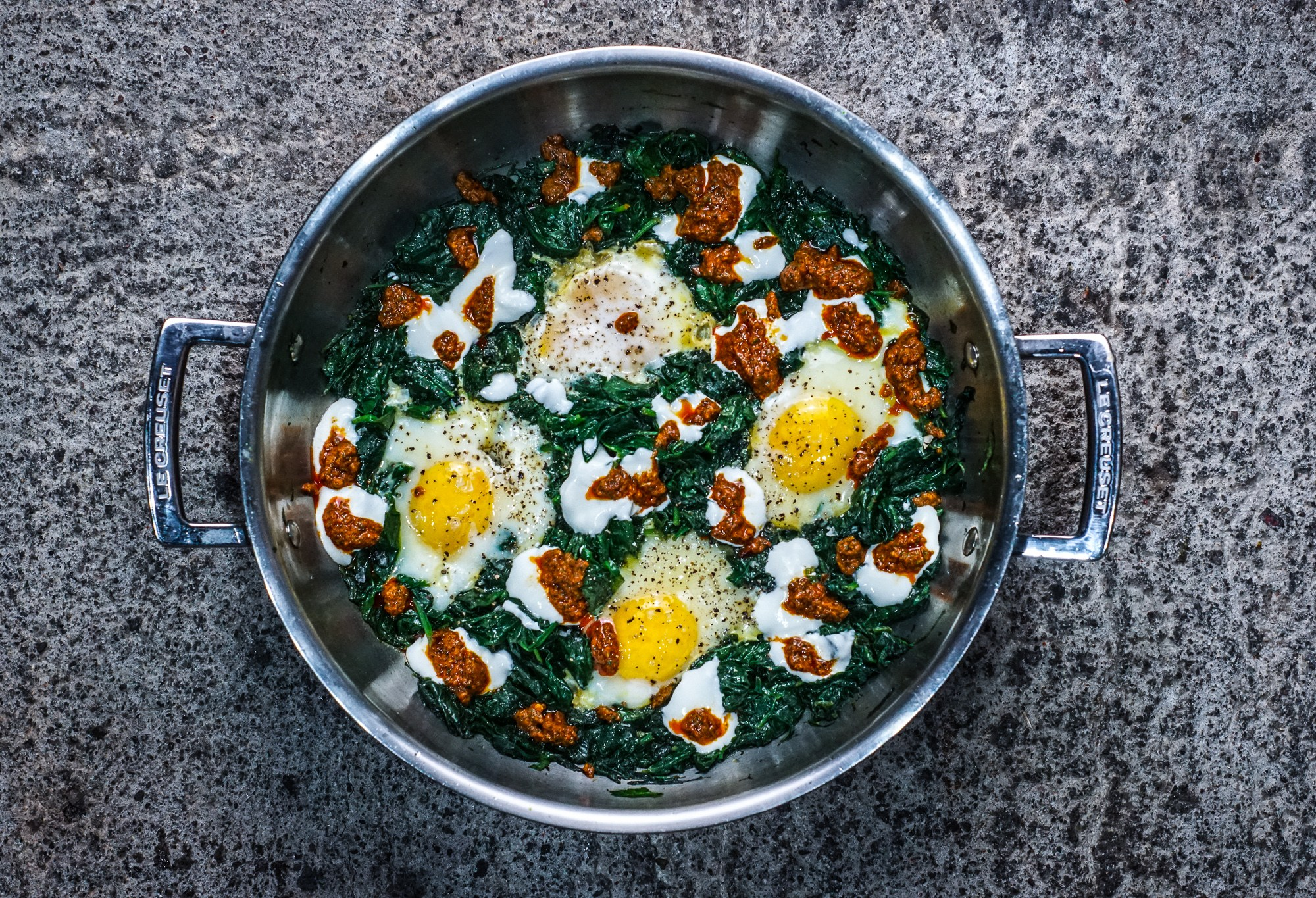 Duck Eggs with Spinach and Chermoula