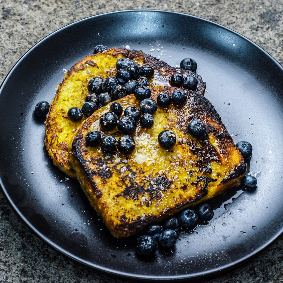 Sweetcorn French Toast with Blueberries