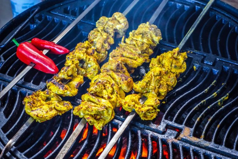 Saffron and Turmeric Chicken Thighs with Saffron Yoghurt and Blackened Chilli Kebab Sauce