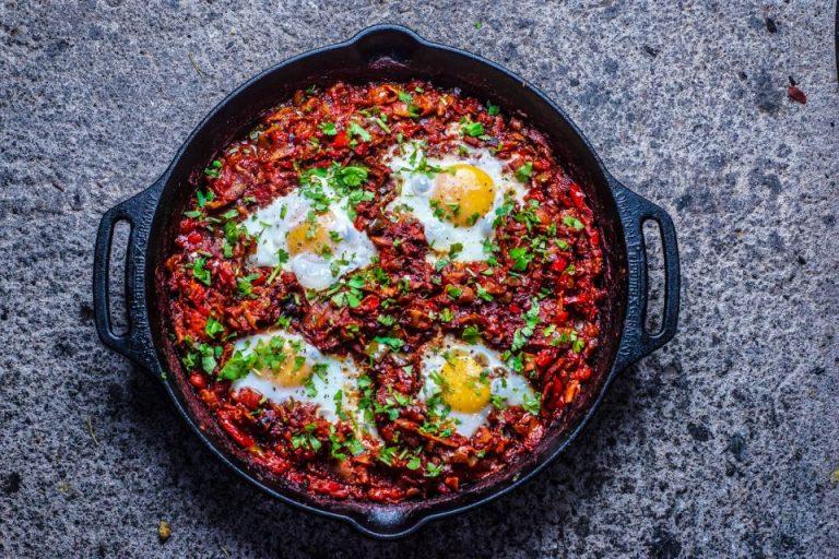 Flamenco Eggs and Pancetta