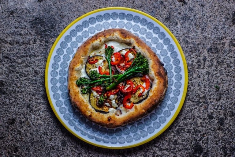 Roasted Veggie and Goat Cheese Pizza