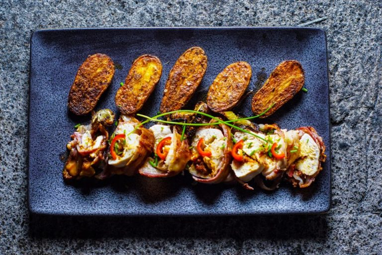 Nduja-stuffed chicken with woodall's pancetta and fennel roasted potatoes