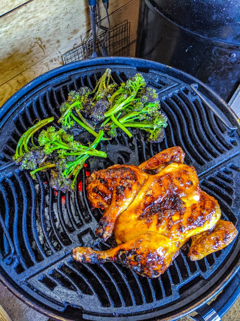 Spatchcocked Chicken with Fig Glaze, figs and sprouting broccoli