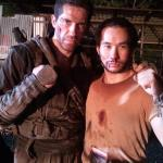 Tim Man with Scott Adkins still friends after a good fight!