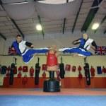 Double flying kick!
